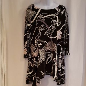 Alfani Size Large Black Multi Color Shirt